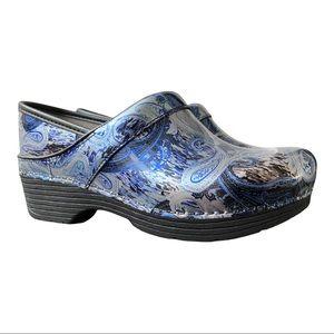 Dansko New Women's LT Pro Clog Silver/Blue Paisley Leather size 38